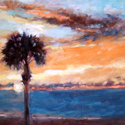 "Post Cards from the Beach: Pass A Grille Sunset, Original, Painting - ""The Gulf Coast has the most spectacular sunsets.  Each one is different and burn into your memory to mark time, events and mood of the day. This is a sunset from Pass A Grille Beach, FLorida in July.  """