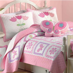 None - Butterfly Flower 2-piece Twin-size Quilt Set - This butterfly flower quilt set features green, pink and white in cute and adorable patterns of butterflies and flowers. Soft 100-percent cotton inside and out, the machine washable twin-size set is perfect for a little girl's bedroom.