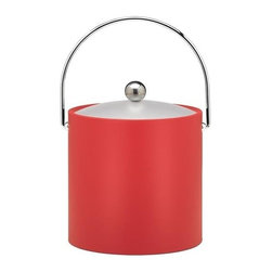 Kraftware - Ice Bucket in Red - Chromed bale handle and flat knob. Frosted vinyl lid. Made in USA. 9 in. Dia. x 9 in. H (3 lbs.)Our Fun Colors Collection features the hottest colors for the season, to provide you with great entertaining items, with up to the minute styling. Great for indoor and outdoor entertaining.