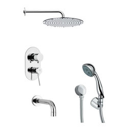 Remer - Chrome Round Tub and Shower Faucet with Hand Shower - Multi function tub and shower faucet.