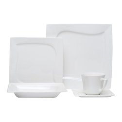 Red Vanilla - Red Vanilla Niagara White 20-piece Dinner Set - Create an inviting dinner display with this dishwasher safe porcelain set from Red Vanilla. Featuring service for four,this set includes dinner and salad plates,soup/cereal bowls and tea cups with saucers.