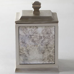 "Kassatex - Kassatex Palazzo Vintage Cotton Box - Antiqued mirrored vanity accessories combine beauty and functionality. Made of resin. Imported. Pump dispenser, 3""Sq. x 8""T. Tumbler, 2.75""Sq. x 4""T. Toothbrush holder, 2.75""Sq. x 4""T. Tray, 12""L x 6""W. Wastebasket, 7""Sq. x 9""T. Tissue box, 6""Sq....."