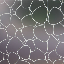 Pebbles Privacy Window Film - 3 ft. x 4 ft. - This fully frosted adhesive designer privacy film is designed to add dimension to any space needing to block visibility through glass windows.  This sanded / frosted film is easily applied and can be removed without leaving heavy residue (in most circumstances). Perfect for shower doors, glass windows in bathrooms or bedrooms and any other location needing visual privacy.  Trims to fit many shapes & sizes of windows. The frosted privacy film is created to allow the most natural light penetration without altering the hue and color of the light source.  All films are printed with eco friendly inks and are suitable for indoor or outdoor use.   36W x 48H Fits Most Standard Household Windows