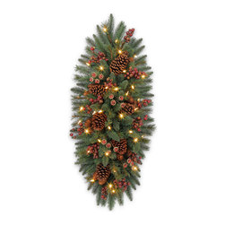 """Balsam Hill - 36"""" Balsam Hill® California Baby Redwood� Rustic Artificial Swag - Our 36"""" California Baby Redwood� mailbox swag is the perfect addition to your holiday decorations.  Brown pine cones, rich maroon berries, and dainty acorn buds are nestled within the lush boughs of this swag, evoking a peaceful ambiance that can only be found in the midst of a quiet forest (or your front yard). Our hand-crafted mailbox swags have been featured on TV shows such as """"Ellen"""" and """"The Today Show"""" and are a recipient of the Good Housekeeping Seal of Approval. Balsam Hill swags hang beautifully, are made of flame-retardant and non-allergenic materials, and are covered by our popular 5-year foliage and 3-year light warranties. Free shipping when you buy today!"""
