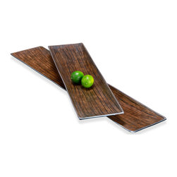 Kathy Kuo Home - Danica Modern Silver Chestnut Serving Platters- Set of 2 - The beauty and grain of Chestnut wood(?) is now being served on these modern, elongated rectangular platters.  Scandinavian style fans will be very pleased to see these on the table, as will organic modernists of every stripe.