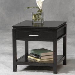 "Linon - Sutton End Table - With a sleek black finish and durable MDF construction, the Sutton Black Plasma End Table is the perfect addition to a living room or den! The end table has one drawer for enclosed storage of items like magazines and coasters. On the bottom, there is a shelf for stacking items that can be displayed. Would look great with items from the Sutton Collection! Features: -1 Shelf for open storage.-MDF construction.-Black finish.-Sutton collection.-Collection: Sutton.-Top Finish: Black.-Base Finish: Black.-Distressed: No.-Powder Coated Finish: No.-Gloss Finish: No.-Base Material: Rubberwood and Rubberwood Veneers over Particle Board / MDF.-Top Material: Rubberwood and Rubberwood Veneers over Particle Board / MDF.-Solid Wood Construction: No.-Number of Items Included: 1.-Hardware Material: Metal.-Nesting Tables: No.-Non-Toxic: No.-UV Resistant: No.-Scratch Resistant: No.-Stain Resistant: No.-Lift Top: No.-Storage Under Table Top: No.-Drop Leaf Top: No.-Magazine Rack: No.-Built In Clock: No.-Drawers Included: Yes -Number of Drawers: 1.-Drawer Glide Material: Wood.-Drawer Glide Extension: 0.75.-Ball Bearing Glides: No.-Soft Close Drawer Glides: No.-Safety Stop : Yes.-Joinery Type: Flush nail.-Drawer Handle Design: Pull..-Exterior Shelves: Yes -Number of Exterior Shelves: 1.-Adjustable Exterior Shelves: No..-Cabinets Included: No.-Glass Component: No.-Legs Included: Yes -Number of Legs: 4.-Leg Type: Straight..-Casters: No.-Lighted: No.-Stackable: No.-Reclaimed Wood: No.-Adjustable Height: No.-Outdoor Use: No.-Weight Capacity: 20 lbs.-Swatch Available: No.-Commercial Use: No.-Recycled Content: No.-Eco-Friendly: No.-Product Care: Wipe with clean, damp cloth.-Built In Outlets: No.-Cable Management: No.-Powered: No.Specifications: -1 Drawer.-FSC Certified: No.-EPP Compliant: No.-CARB Compliant: Yes.-ISTA 3A Certified: Yes.-ISTA 1A Certified: No.-General Conformity Certificate: Yes.-Green Guard Certified: No.-ISO 9000 Certified: No.-ISO 14000 Certified: No.Dimensions: -Overall Height - Top to Bottom: 20"".-Overall Width - Side to Side: 19.5"".-Overall Depth - Front to Back: 19.5"".-Table Top Thickness: 0.5"".-Table Top Width - Side to Side: 19.5"".-Drawer: -Drawer Interior Height - Top to Bottom: 2.36"".-Drawer Interior Width - Side to Side: 15.16"".-Drawer Interior Depth - Front to Back: 15.16""..-Overall Product Weight: 32 lbs.-Shelving: Yes.-Legs: Yes.Assembly: -Assembly Required: Yes.-Tools Needed: Phillips and/or Slot Head Screwdriver.-Additional Parts Required: No.Warranty: -Product Warranty: 6 months."