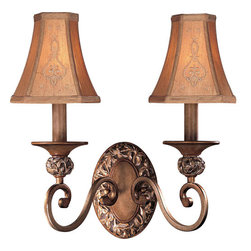 Minka-Lavery - Salon Grand Two-Light Wall Sconce - This romantic sconce boasts beautifully hand sculpted leaf details.  Its Florence patina finish and embroidered faux silk shades lend further elegance while its graceful scrolls tempt the eye.  A fine way to complete your d�cor, this piece will win your heart.    Minka-Lavery - 1562-477