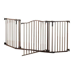 "North States - North States Deluxe Decor Wide Baby/Pet Gate - The attractive North States Deluxe Decor Safety Gate fits openings from 37"" to 72"" wide and is 30.7"" tall. Hardware mounted and can be mounted at an angle. The entire barrier can swing open on either side with childproof latch on both sides. Perfect for wide openings, and special conditions. Self closing with hold-open feature. Gate swings both ways. Childproof latch with one-hand operation. Comes in a Matte Bronze finish."
