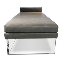 """Recovered Interior Collection - The Levitating Daybed is a unique and functional stylistic statement.  A twist of sophistication comes from the antiqued chain connecting the bolster pillow to the base of the daybed. In deliberate contrast, the crystal-like acrylic base gives a sense of visual lightness.  The fabric options include recycled leather and Italian velvet combinations offered in Gray, Green and Black. DIMENSIONS: 70"""" x 32"""" x 19"""" H bolster headrest 6-1/2"""" in diameter - See more at: http://recoveredinterior.com/shop/levitating-daybed.html#sthash.uSjAURge.dpuf"""