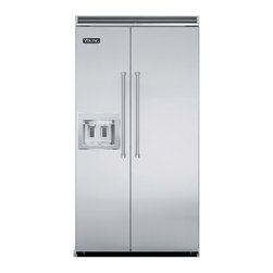 """Viking 42"""" Built-in Side By Side Refrigerator, Stainless Steel 