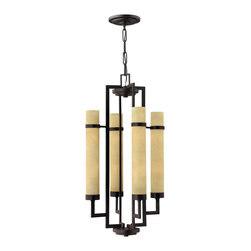 Hinkley Lighting - Hinkley Cordillera Rustic Iron Eight-Light Pendant Light - Cordillera conveys contemporary chic with tall tubular glass three-quarter trim rings and dramatic scaling. The Rustic Iron finish is paired with light scavo glass to complete this bold design.Under four generations of family leadership Hinkley Lighting has transformed from a small outdoor lantern company to a global brand intent on bringing you the best in style quality and value. LIFE AGLOW: That's their mantra and they take it seriously. By welcoming their products into your home they become part of your family's everyday life illuminating small moments and big occasions. They understand your home is so much more than a physical place. It's an emotional space designed by you so they are committed to keeping your 'Life Aglow' with stylish state-of-the-art lighting. Their products are the ultimate combination of style and substance. They are constantly developing new technologies to make their fixtures even more energy efficient. Hinkley recently upgraded their LED to cutting-edge high lumen output integrated solutions and they give you hundreds of energy-efficient styles to choose from. Even their Cleveland-based world headquarters employs high energy saving standards with low VOC materials and a variety of eco-smart applications into the design to make an earth-friendly work environment for their Hinkley family. Hand crafted fixtures luxe finishes artistic details and quality materials go into the design of every product they make. They embrace the philosophy that you can merge together the lighting furniture art and accessories you love into a beautiful environment that defines your own personal style. Specifications Finish: Rustic Iron Glass Finish: Light Scavo Material: Metal Bulb Type: Candelabra Number Of Bulbs: 8 Wattage Per Bulb: 40W Total Wattage: 320W Bulbs Included: No Voltage: 120V Safety Rating: C-US Dry Rated Dark Sky Compliant: No Ada Compliant: No Title 24 Compliant: No I