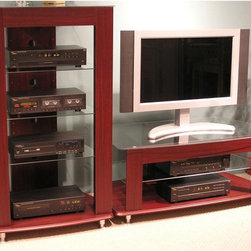 4D Concepts - Glass Top Audio Entertainment Stand Multicolor - 64623 - Shop for Visual Centers and Stands from Hayneedle.com! This complement to the glass top TV stand is an excellent choice for the audiophile in you. With four wide shelves and plenty of room for stacking components you'll be hard pressed to occupy all the space it provides. Durable PVC construction makes it a sure winner in terms of longevity and strength while the glass shelves offer great looks. Some assembly is required but it won't give anyone problems. The cherry finish is a nice choice as it complements most any surrounding.About 4D Concepts 4D Concepts is a manufacturer of fine homewares located in California. They specialize in kitchen cabinetry cupboards baker's racks as well as bathroom furniture. Using materials such as metal select woods and premium hinges and hardware their products whether they are entertainment centers or a simple plant stand always endure years of continuous use.