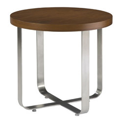 Allan Copley Designs - Allan Copley Designs Artesia Round End Table w/ Walnut Stain Top on Satin Nickel - The Artesia Collection by Allan Copley designs is as practical as it is refined. Its sleek lines give it a geometric and balanced appearance that is sure to add a stylish element to your home's decor. With the Satin nickel base accented by the Walnut stain on walnut tops, an elegantly contemporary design is achieved. The Artesia Collection includes Round Cocktail, Round End and Console Table.