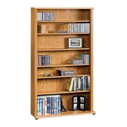 Sauder - Orchard Hills Multimedia Storage Tower in Car - 6 Adjustable shelves. Holds 497 CDs, 174 cardboard case VHS tapes, 120 oversized case VHS tapes or 336 DVDs. Patented slide-on moldings. Made of engineered wood. Assembly required. 32 in. W x 9 in. D x 56 in. H