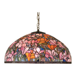 Meyda - 22 Inch Width Tiffany Magnolia Pendant Ceiling Fixture - Color theme: Purple/Blue Pink  Pink Orange