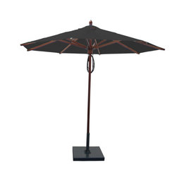 Greencorner - 9' Octagon Mahogany Umbrella, Black - 9' Octagon