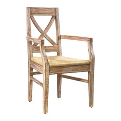 French Heritage - Pyrenees Cross Back Arm Chair, Malibu Finish - X marks the spot! Add a touch of rustic charm anywhere in your home with this Pyrenees cross-back armchair.