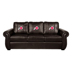 Dreamseat Inc. - University of Utah NCAA Chesapeake Brown Leather Sofa - Check out this Awesome Sofa. It's the ultimate in traditional styled home leather furniture, and it's one of the coolest things we've ever seen. This is unbelievably comfortable - once you're in it, you won't want to get up. Features a zip-in-zip-out logo panel embroidered with 70,000 stitches. Converts from a solid color to custom-logo furniture in seconds - perfect for a shared or multi-purpose room. Root for several teams? Simply swap the panels out when the seasons change. This is a true statement piece that is perfect for your Man Cave, Game Room, basement or garage.