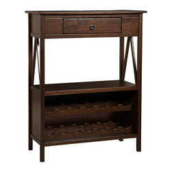 Linon Home Decor - Linon Home Decor TITIAN WINE CABINET X-U-DK-10-BOTA16168 - Our Titian Collection has a simple yet eye-catching design that is matched with incredible durability.  The Wine Cabinet features a single storage drawer ideal for storing corks and bottle openers. The spacious top and lower shelf allow you to keep glasses and other necessities close at hand. The bottom portion of the cabinet allows you to safely store up to fourteen bottles of wine.  A neutral, classic Antique Tobacco finish allows this piece to easily complement your homes decor.
