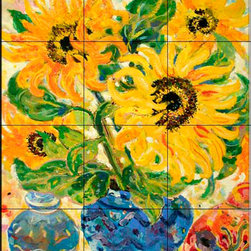 The Tile Mural Store (USA) - Tile Mural - Sunflower Flame - Kitchen Backsplash Ideas - This beautiful artwork by Lorraine Platt has been digitally reproduced for tiles and depicts a colorful flower scene.  With our enormous selection of tile murals of plants and flowers you can bring your kitchen backsplash tile project to life. A decorative tile mural with plants and flowers is an impressive kitchen backsplash idea and decorative flower tiles also work great in the bathroom. Add splashes of color and life to your tile project with images of flowers on tiles and tiles with pictures of plants.