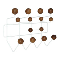 Modway - Gumball Coat Rack in Walnut - Bright and colorful, the Gumball Coat Rack picks up where the Ball Clock leaves off. Perfect from those energetic rooms filled with exuberance and energy, each coated wooden ball is well positioned for fun. With its array of assorted confectioneries, hang it all from the bright yellow raincoat, to the child's toy umbrella.