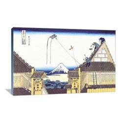 "Artsy Canvas - Kite Flying From Rooftop 36"" X 24"" Gallery Wrapped Canvas Wall Art - Kite Flying from Rooftop - Katsushika Hokusai (1760 beautifully represented on 36"" x 24"" high-quality, gallery wrapped canvas wall art"