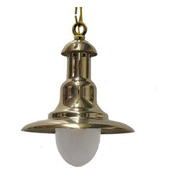 Shiplights - Brim Hanging Light by Shiplights, Interior/Exterior Use, Unlacquered Brass - Our Medium Brim Hanging Light is made of solid brass and can be used indoors or outdoors in a wide variety of applications.