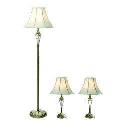 None - Elegant Designs Antique Brass 3-piece Lamp Set - Accessorize your space with this tastefully designed lamp set. It includes two table lamps and one floor lamp,each with a white fabric shade to make beautifying your home easy. Each lamp is enriched with an exquisite antique brass finish.