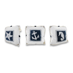 Zeckos - Set of 3 Reversible White and Blue Nautical Canvas Throw Pillows 16 in. - This set of crisp white and navy blue nautical accent pillows would be the perfect accent for your beach retreat or nautical themed home. Each has a cotton canvas cover that is adorned with its own nautical motif (a seahorse, a starfish and an anchor), with blue and white stripes on the reverse. They are trimmed with a natural cotton rope that flows completely around the outside edge through metal grommets in each corner complementing the nautical styling. Each pillow measures 16 inches by 16 inches and has a zippered bottom to easily remove the polyfil insert, so cleaning is a breeze! Recommended cleaning is to spot clean or dry clean only. These nautical pillows would make a great accent on your favorite chair or bench in an enclosed porch, but would look just as handsome adorning your bed or even the office!