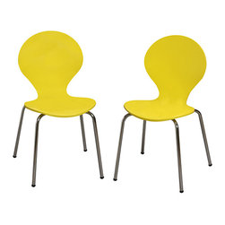 Gift Mark - Yellow Modern Children's Chair - Set of Two - Designed with a curvaceous silhouette for a fun mod look, this chair set lends little ones a stylish seat during study hours, craft time and more.   Includes two chairs Weight capacity: 60 lbs. 13'' W x 26.25'' H x 14'' D Seat: 14'' H Chrome / medium-density fiberboard / veneer Assembly required Imported