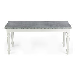 "Kingston Krafts - Middleton Zinc Top Dining Table - Made in USA, 8 Foot - Meet ""The Middleton"" by Kingston Krafts! It's natural and modern elements combine to transform a transitional and unique focal piece. Fabricated by hand, PURE zinc is sheeted over a FSC certified substrate. A signature acid wash is applied for a time worn look. Fitted with a classic french farmhouse style base constructed with of ash wood in a white distressed finish. Simple, classic, and timeless!"