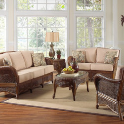 Hospitality Rattan Turks Bay Deep Seating Sofa Group - The Hospitality Rattan Turks Bay Deep Seating Sofa Group combines a unique blend of rattan and wicker that will provide a casual and comfortable feel to your sunroom or living room.