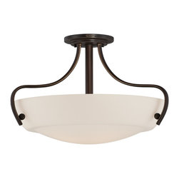 Quoizel - Quoizel CY1722PN Chantilly Transitional Semi Flush Mount Ceiling Light - This is a great soft contemporary design that will blend with most design styles.  The opal etched glass softly diffuses the light but still allows for maximum light output.  The classic Palladian Bronze finish accentuates the graceful curves of the fixtures.