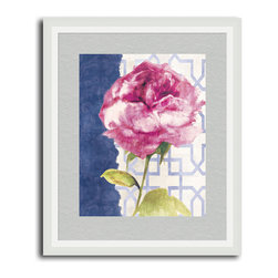 MonDeDe - Antique Floral On White II - The calming blues and pinks of this sweet print work perfectly in your light bedroom, bathroom or living room. The blooming flower is so realistic, you can almost smell it from across the room.