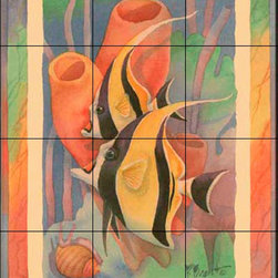 The Tile Mural Store (USA) - Tile Mural - Moorish Idol Duo Antique - Kitchen Backsplash Ideas - This beautiful artwork by Paul Brent has been digitally reproduced for tiles and depicts colorful Moorish Idols.  This tile mural featuring fish and sea life would be perfect as a part of your kitchen backsplash tile project or your tub and shower surround bathroom tile project. Images of tropical fish on tile make a fantastic kitchen backsplash idea and are great to use in the bathroom too for your shower tile project. Consider a tile mural of sealife and fish for any room in your home where you want to add wall tile with interest.