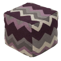 "Surya - Surya Pouf, Deep Wine, Lavender, Dove Gray, Ivory - Surya POUF-220 18"" x 18"" x 18"" Pouf, Deep Wine, Lavender, Dove Gray, Ivory and Charcoal"