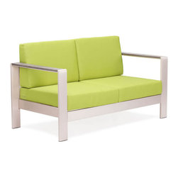 ZUO - Cosmopolitan Sofa Cushions - Green - Brushed aluminum curves smoothly around bold cushions. The sexy Cosmopolitan series features an armchair and a sofa with an aluminum frame and water-resistant cushions in orange, green or red. Sold separately.