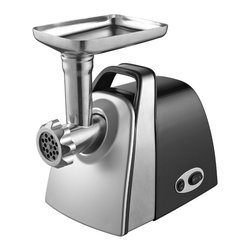 Kalorik - Stainless Steel Electric Meat Grinder - Kalorik's Meat Grinder features a powerful and durable motor that allows you to grind meat quickly, conveniently, and easily. Grind meat for burgers, chili, or tacos or make your own sausages! Its stainless steel blade and FDA-approved cutting disks allow for superior total meat output – more than twice the output of most standard domestic models with 4 lbs per minute -, even when grinding small quantities. Its oblique dented gears produce maximum longevity and functionality and its user-resettable circuit breaker protects against overheating. The meat grinder has forward and reverse grinding options and comes with 2 sausage fillers (1 small and 1 large). Storage is also a breeze—the attachments and cutting disks can be stored in the pusher and the unit features power cord storage.