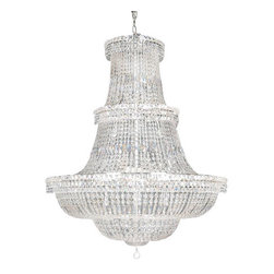 "The Gallery - French Empire Crystal chandelier Lighting - dressed with 100% crystal, this chandelier is characteristic of the grand chandeliers which decorated the finest Chateaux and Palaces across Europe and reflects a time of class and elegance which is sure to lend a special atmosphere in every home. Assembly required. Size: H. 66"" x W. 44"", 24 Lights."