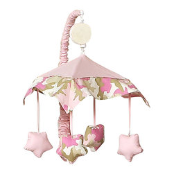 Sweet Jojo Designs - Pink Camouflage Mobile - The Pink Camouflage Mobile by Sweet Jojo Designs will have you putting your baby to sleep in style. When wound up this crib mobile spins and plays Brahms' lullaby. This musical crib mobile has been manufactured to fit standard sized cribs. The mobile set includes a musical mobile frame, canopy with hanging toys, and matching arm sleeve cover. Please note:The plastic clamp fits standard rails up to 2 3/4 in. wide. Non-standard crib rails may be wider than 2 3/4 in. and may not work with these mobile frames.