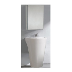 Fresca - Parma Pedestal Sink Modern Bathroom Vanity in White (Bevera Chrome) - Choose Included Faucet: Bevera Chrome48 P-trap, Faucet, Pop-Up Drain and Installation Hardware Included. Single Hole Faucet Mount (Faucet Shown In Picture May No Longer Be Available So Please Check Compatible Faucet List). With overflow. Sink Color: White. Finish: White. Sink Dimensions: 21 in. x14.375 in. x5.25 in. . Medicine Cabinet: 19.5 in. W x 26 in. H x 5 in. D. Materials: Solid Acrylic Sink with Overflow. Vanity: 24 in. W x 20 in. D x 33.38 in. HThis all white pedestal vanity is so compact in size that it fits virtually anywhere. The included medicine cabinet features mirrors on the inside and can also be wall mounted, or recessed into the wall.