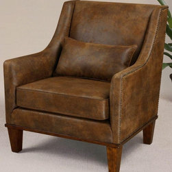 Uttermost - Matthew Williams Clay Armchair - Designer: Matthew Williams. Pillow included. Seat height: 19 inch.. Made of Foam & Wood. 33 in. W x 33 in. D x 37 in. HRelax in this chair featuring velvety soft fabric that captures the look of natural tanned leather. Antiqued brass nail heads accent the frame along with weathered hickory stained legs and base.