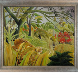 """overstockArt.com - Rousseau - Surprise with Silver Scoop with Swirl Lip - Silver Frame Oil Painting - Enjoy Henri Rousseau's beautiful display of naive jungle themes, Surprise. Today it has been hand painted on canvas, color for color and detail for detail. Henri Julien Felix Rousseau was a French Post-Impressionist painter. Also known as Le Douanier (the customs officer), he was a tax collector. Ridiculed during his life, he came to be recognized as a self-taught genius. Frame Description: New Age Wood Frame - Black Finish Framed painting size (not including frame): Classic 20"""" x 24"""". Framed Oil reproduction of an original painting by Henri Rousseau"""