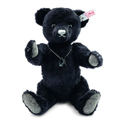"Onyx Teddy Bear EAN 034435 - Collection: Worldwide Exclusive Edition size (year): 2000 pieces (2014) Material: Made of high quality silk plush Size: 9.9 inches Color: Black Ear tag: White tag; crystal ""Button in Ear"" Joints & Pose: 5-way jointed Sound device: None Care: Surface washable Made in Germany NOT A TOY. Intended for adult collectors.  Dramatic and eye-catching, black onyx has been used for adornment since before the days of ancient Greece and Rome. This semi-precious stone is the inspiration for the next edition in our series of gem-themed bears, following in the glittering footsteps of last year's popular ""Amethyst"" and ""Ruby"". Our 2014 Onyx Teddy bear is sewn from opulent black silk plush. Her paw pads are encrusted with black and silver SWAROVSKI ELEMENTS. Around her neck she wears a necklace with a glistening black pendant, also from SWAROVSKI ELEMENTS. Onyx features claws sewn in sparkling silver Lurex yarn. She is a portrait of elegance that will bring an air of distinction to every collection."