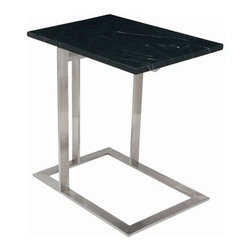 """Nuevo - Dell End Table - Features: -Brushed stainless steel frame. -0.75"""" Marble top. -Dimensions: 22.75"""" H x 15"""" W x 21.75"""" D."""