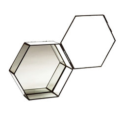 Chantal Shadow Box Honeycomb - Showcase your favorite keepsake in this sweet honeycomb-shaped shadow box. Each features an antique-copper, scallop-edged structure and a mirrored glass bottom with felt furniture protectors.  Hankering to hang your box? There are also two hanging hooks tucked underneath for wall display.