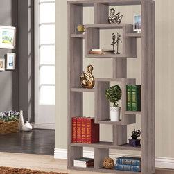 Coaster - Bookshelf, Distressed Grey - This wall unit can be used to dress up any wall with the look of interlocking shelves, which provide storage and displays space in different sized compartments. Finished in distressed grey.