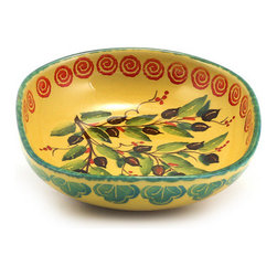 Artistica - Hand Made in Italy - MARIKLA: Salad/Pasta Bowl square - OLIVE Design - The all new Marikla is truly a distinctive collection of table top and gift items.