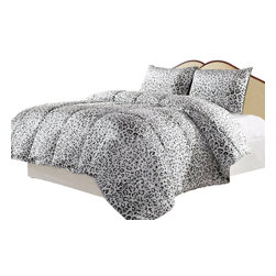 Snow Leopard Reversible Down Alternative Comforter Set, Leopard, King - Satisfy your wild side with the Cozy Reversible Down Alternative Snow Leopard Print Comforter Set. This 45 oz Down Alternative Low Fill Power 500 Comforter Set Is made from micro fiber and is as soft as goose down. It is treated with anti-microbial finish to repel dust mites and is ideal for allergy sufferers.