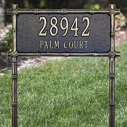 "Frontgate - Bamboo Framed Address Plaque - Crafted from rust-free recycled cast aluminum. Paints have been specially formulated and weather-tested to withstand even the harshest elements. Designed to provide maximum visibility to meet local ""911"" emergency standards. Easily assembles with a screwdriver. Please check for accuracy; personalized orders cannot be modified, cancelled, or returned after being placed. Add an Asian touch to your outdoor decor with our Bamboo Framed Address Plaque. Your family name and house number are enhanced with a rustic finish and bamboo border tightly lashed at the corners for authentic appeal. This cast-aluminum plaque is hand finished to highlight the carved details.. . . . . Made in the USA. For over 60 years, Whitehall has been crafting personalized name and address plaques to provide a distinctive finishing touch to millions of homes. Renowned as the world's largest manufacturer of personalized name and address plaques, Whitehall's reputation for quality and reliability is unsurpassed."
